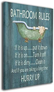 Art-logo Vintage Bathroom Rules Bathtub Shower Canvas Wall Art Decor for Bathroom Funny Quotes Bathing Canvas Prints Giclee Artwork Pictures Ready to Hang for Home Decoration 16