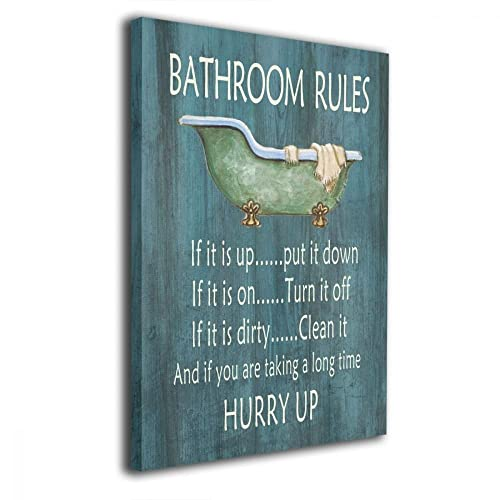 ac5f9a586d5 Art-logo Vintage Bathroom Rules Bathtub Shower Canvas Wall Art Decor for  Bathroom Funny Quotes
