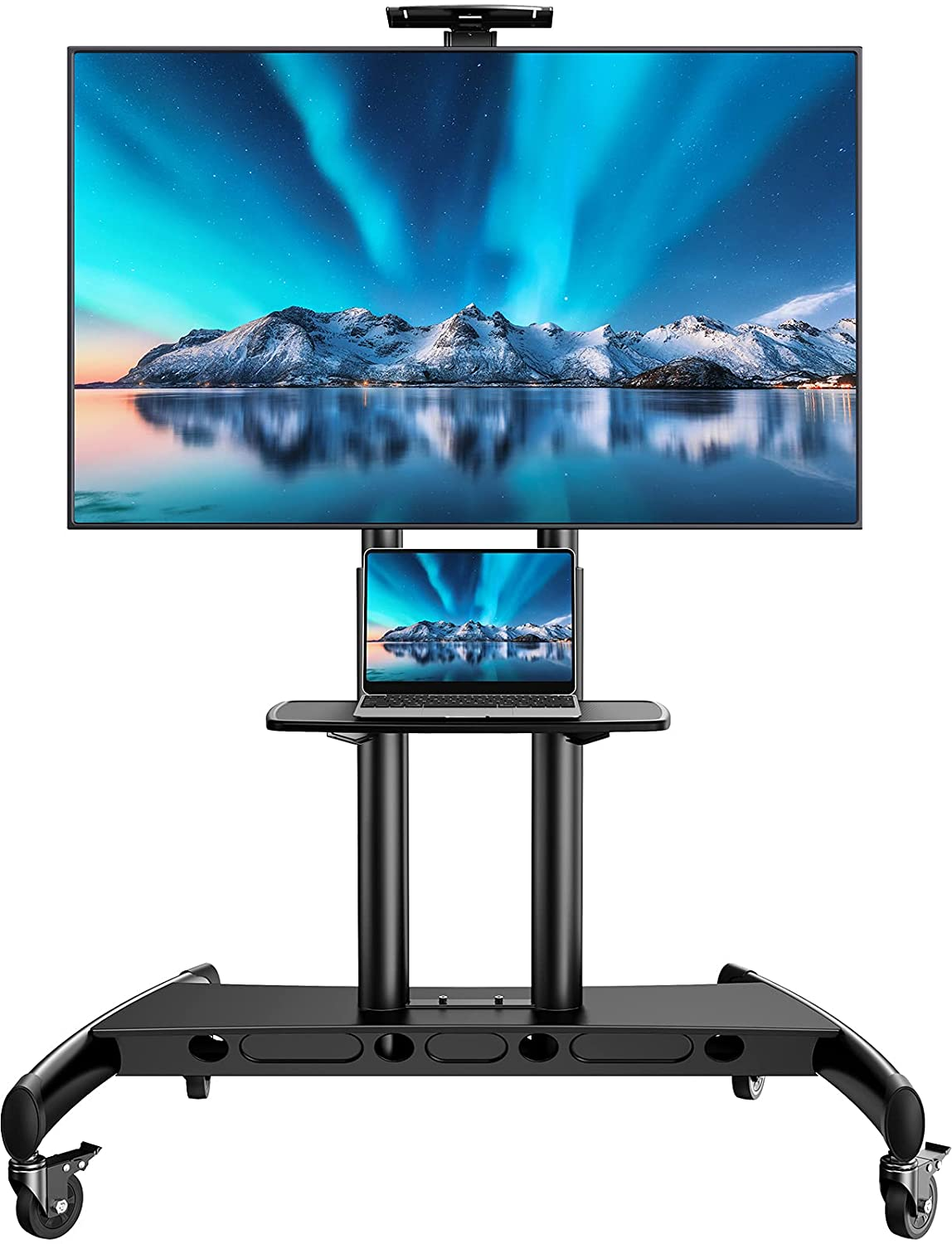 PERLESMITH Mobile TV Stand for 55-80 Inch Flat/Curved Screen TV Max VESA 800x500mm Outdoor TV Cart with Height Adjustable AV Shelf Rolling Floor TV Stand w/Camera Tray Holds up to 200Lbs (PSTVMC07)