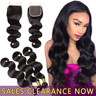 9A Human Hair Body Wave 3 Bundles 22 24 26 With 20 4x4 Top Lace Closure Free Part Best Brazilian Virgin Hair Weave Indian Malaysian Remy Wavy Hair Extensions Cheap Peruvian Natural Black Hair Weft