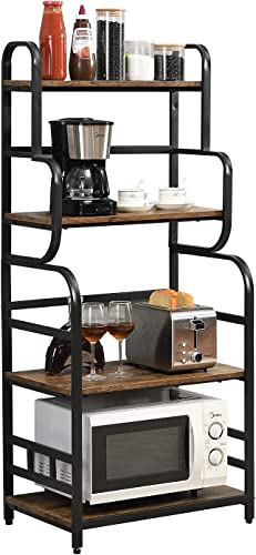 """discount O&K Furniture Industrial Kitchen Baker's Rack , Small Microwave Stand with 4 Shelves, Detachable Kitchen Spice new arrival outlet sale Rack---Rustic Brown Finish, 23.6""""W x 15.7""""D x 54""""H sale"""