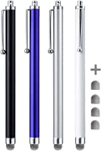 Stylus Pens, CCIVV 4 Pcs 5.6 Inches Mesh Tipped Stylus for Touch Screens, iPad, iPhone, Kindle Fire + 4 Extra Replaceable Hybrid Fiber Tips (White, Black, Silver, Blue)