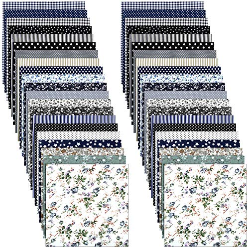 Tela Acolchada de Algodón Tela de Estrella Raya Punto Floral Tela de Patchwork de Costura de Paquete Cuadrado para Manualidades DIY Scrapbooking Proyecto Coser Manual, 10 x 10 Pulgadas(42 Hojas)