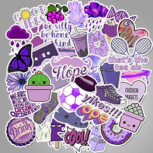 Conjunto de dibujos animados Púrpura Decorativo Chica Pegatinas Para Diy Maleta Monopatín Portátil Etiqueta de los Niños Regalo Pequeña Calcomanías Frescas 50pcs/