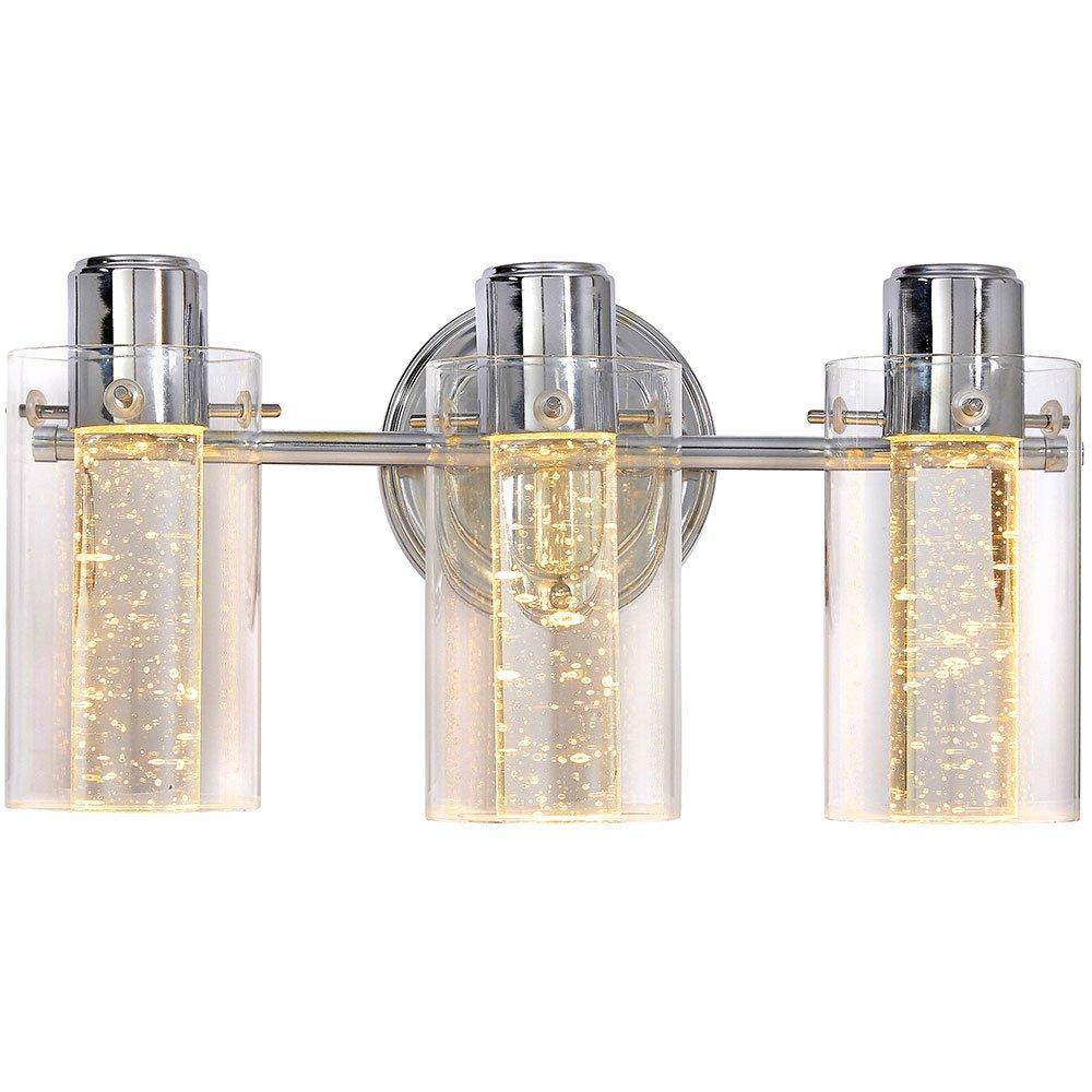 光沢のある泡ガラスランプガラスサラウンドLED照明ドレッシングテーブル、ベッドルームまたは浴室の室内照明シルバートリプルライトHH1174-L