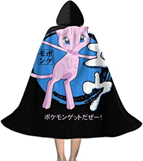 SEDSWQ Monster of The Pocket Mew Japanese Text Unisex Kids Hooded Cloak Cape Halloween Xmas Party Decoration Role Cosplay Costumes Black