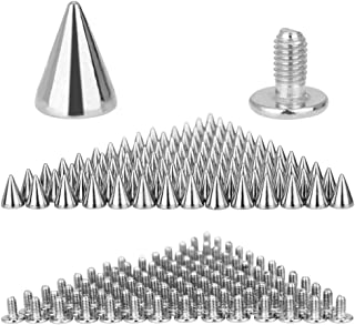 DECARETA 100 PCS Cone Spikes Punk Rivets Stud Screw Back Spikes for DIY Leather Shoes Jacket Craft Garment Bag, 7 x 10mm