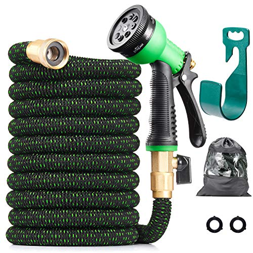 All New 2020 Expandable Water Hose with 3//4 Solid Brass Fittings Extra Strength Fabric Flexible Lightweight Expanding Gardening Hoses with Free Water Spray Nozzle LINQUO 100 ft Garden Hose