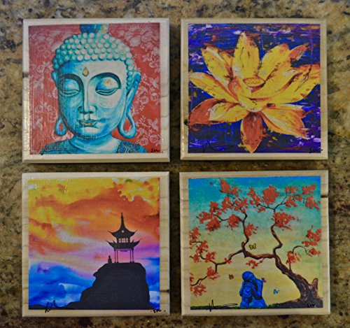 Fine Art Coasters, set of 4, zen, drink coaster, wood, buddha, asian, distressed, art, bar, gift, lotus flower, pagoda, hand made in Utah, artist signed