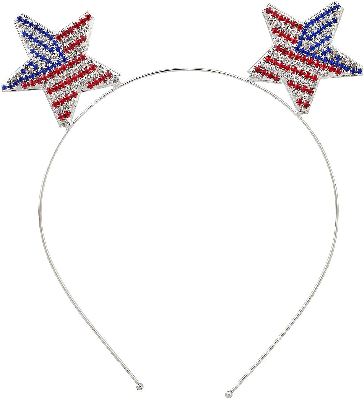 Lux Accessories Silver Tone Stars American Flag Inspired Rhinestones Headband