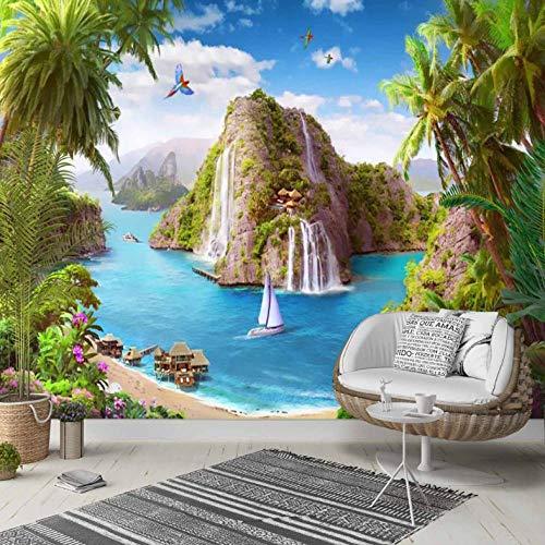 Pbbzl fotobehang op achtergrond, voor slaapkamer, Del Salon, 3D-foto, van stof, afwasbaar, zonnedak, zonnedak, groen 250x175cm