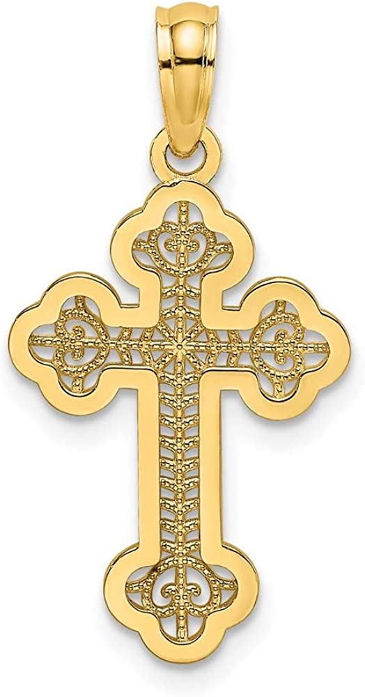 14K Yellow Gold Lace Center Budded Cross 13 mm Charm Max 63% Max 64% OFF OFF 23.1 x