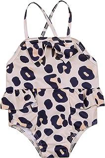 SHIBAOZI Toddler Baby Girls One-Piece Swimsuit Floral Printed Ruffle Tutu Trim Rash Guard Swimwear Bathing Suit