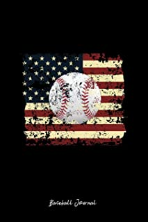 Baseball Journal: Lined Journal - Baseball USA Flag Cool Baseball Player Gift - Black Ruled Diary, Prayer, Gratitude, Writing, Travel, Notebook For Men Women - 6x9 120 pages