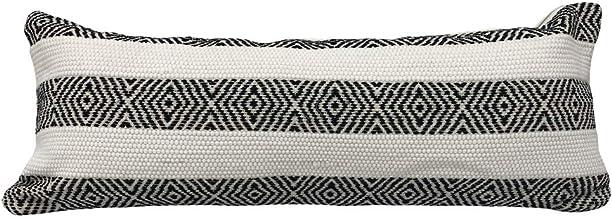 "LR Home Geometric Striped Lumbar Pillow, 14"" x 36"", Black/White"
