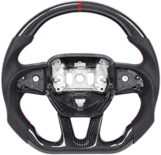 Akozon Upgraded customized steering wheel Carbon Fiber Steering Wheel Suede with 12 O‑clock Ring D‑type racing designed Fit for Dod-ge Challenger / Charger 2015-2020