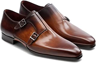 Costoso Italiano Brown & Tan Leather Formal Monk Strap Shoes for Men