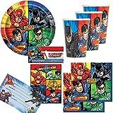 74-tlg. Party-Set * Justice League * mit Teller + Becher + Servietten + Einladungen + Luftballons |...