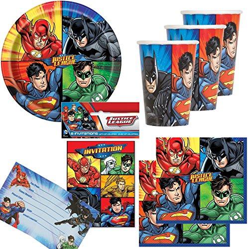 74-tlg. Party-Set * Justice League * mit Teller + Becher + Servietten + Einladungen + Luftballons | Kindergeburtstag Deko Kinder Geburtstag Mottoparty Motto Superhelden Spiderman Batman Superman