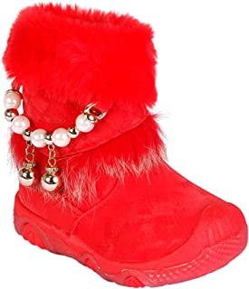 Hopscotch Passion Petals Girls Suede Winter Boots with Pearl in Red Color