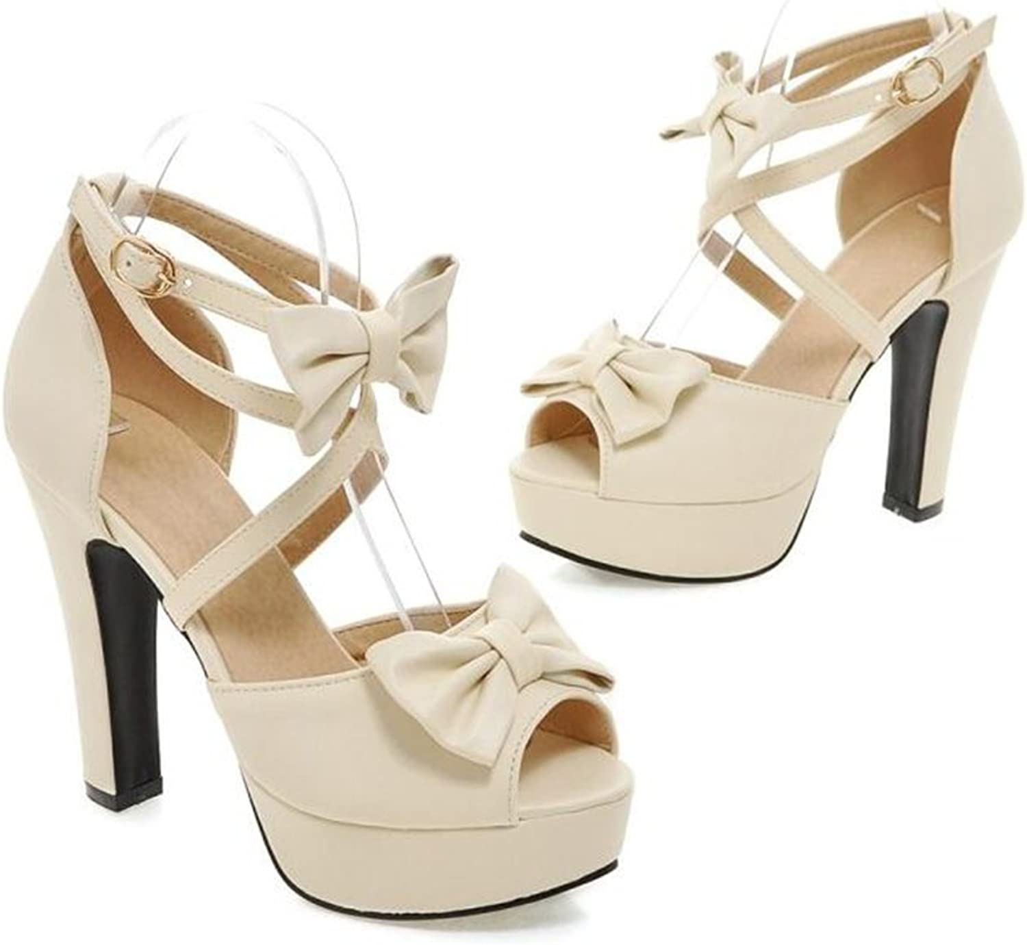 Women's shoes PU Summer Comfort Ankle Strap Sandals Walking shoes Chunky Heel Platform Block Heel Peep Toe Bowknot Buckle For Casual Sandals