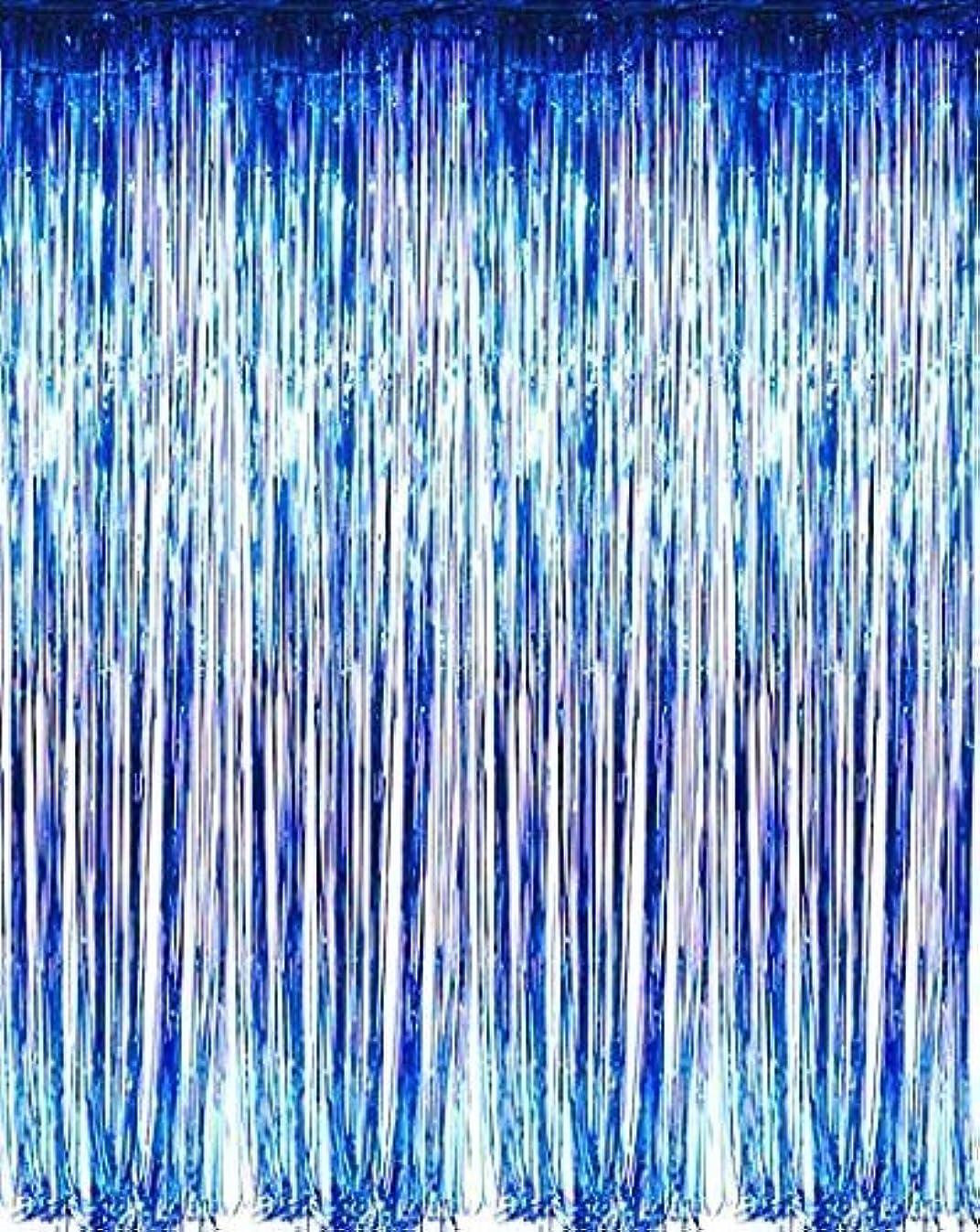 New! Set of 3 Blue Metallic Foil Fringe Door & Window Curtain Party Decoration 3' X 8' (36