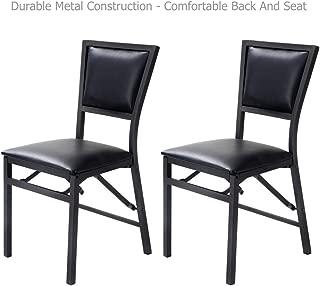 Koonlert@Shop Modern Design Folding Dining Chair Metal Frame Durable Padded Seat Comfortable Backrest Cushion Home Kitchen Living Room Office Furniture - Set of 2 Black #1712
