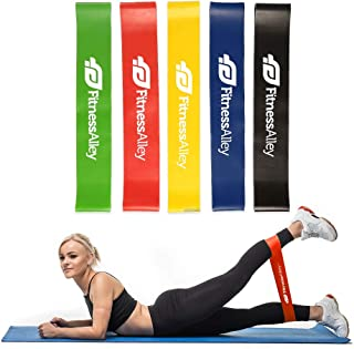 Fitness Alley Resistance Bands, Loop Exercise Bands with Carry Bag, Workout Flexbands for Home Fitness, Yoga, Pilates, Stretching, Physical Therapy (Set of 5)