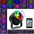 Disco Lights, Vlio Sound Activated Disco Ball Lights 15 Colours, 5W RGB Party Stage Lights with Remote Control for Kids Birthday, Family Gathering, Holiday, Bar, Party Decoration