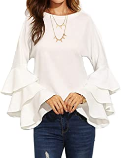 Women's Elegant Trumpet Sleeve Tops Casual Long Sleeve Blouse Shirts