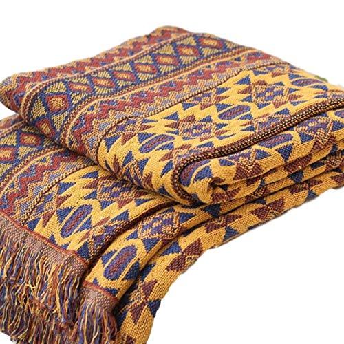 Aosong Bohemian-Decke/Überwurf, wendbar, Sofa-Überwurf, Decke mit Quasten, 100 handgewebte Baumwolle, gestrickt, Sesselüberwurf, Sofa-Tagesdecke, Patchwork-Strickdecke