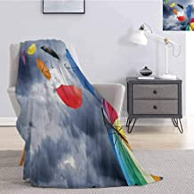 Luoiaax Colorful Flannel Throw Blanket for Couch Parasols on Foreground of Dark Cumulus Rain Clouds Windy Stormy Day Shield Image Super Soft Cozy Queen Blanket W70 x L84 Inch Multicolor