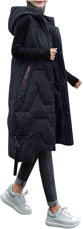 Auimank Women's Autumn Winter Warm Down Hooded Lightweight Quilted Vest Loose Zip Gilet Outdoor
