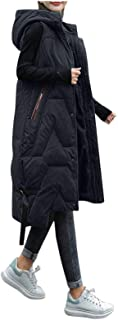 OutTop Women Hooded Warm Winter Puffer Vest Sleeveless Long Thick Down Zip Gilet Coat Cotton Padded Waistcoat Jacket