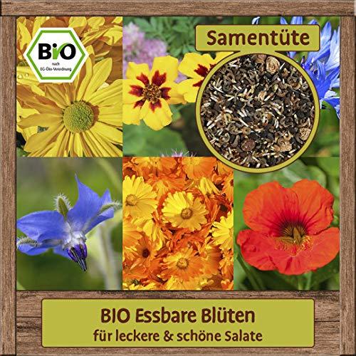 BIO Blumenmischung Samen bunte Blumensamen Blütenmischung (für leckere & schöne Salate) Kräutersamen mit essbaren Blüten