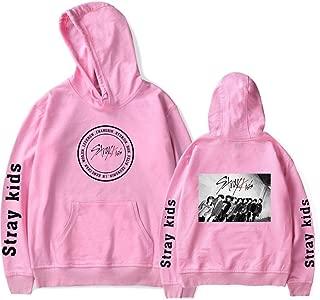 A-LING Stray Kids Hoodies Women Fashion Kpop Hip Hop Sweatshirts Kpop Loose Pullover Long Sleeve Hoodies Stray Kids Girls Women(pink4,L)