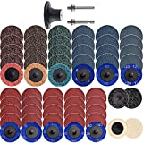 """NYXCL 60Pcs 2 inch Quick Change Sanding Discs Set, 2Pcs 1/4"""" Holders, Die Grinder Surface Conditioning Burr Rust Paint Removal"""