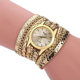 Bohemian Watch Bracelet, Winding Bracelet Watch, Woven Snake Quartz Watch, Leather Chain Quartz Womens Multilayer Bracelet Wrist Watches Relojes