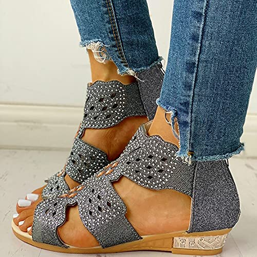 Damen Keilabsatz Sandalen Große Größe Strass Retro Boho Sandalen Frauen Sommer Offene Schuhe Plattform Freizeit Sandaletten Sommerschuhe Reißverschluss Strandsandalen
