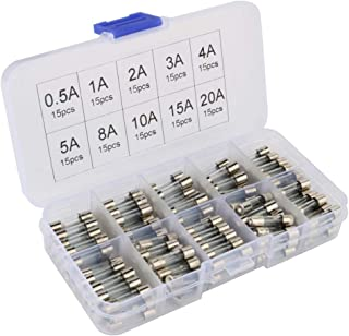 Gebildet 150 pcs 5x20mm Fast-Blow Glass Tube Fuse, Quick Blow Car Glass Tube Fuses Assorted Kit (AMP 0.5A 1A 2A 3A 4A 5A 8A 10A 15A 20A Each 15pcs)