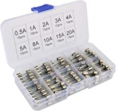 Gebildet 150 pcs 5x20mm Fast-Blow Glass Tube Fuse, Quick Blow Car Glass Tube Fuses Assorted Kit (AMP 0.5A 1A 2A 3A 4A 5A 8A 10A 15A 20A Each 15pcs)