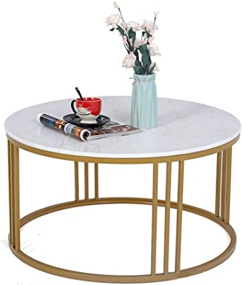 Round Mid Century Modern Coffee Table with Marble Tabletop Side Table for Living Room/Office Decoration, Metal, Gold/Faux Marble