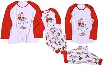 Jeash Xmas Family Clothes Pajamas Merry Christmas Camel Print BlouseTops and Pants Xmas Family Clothes Pajamas