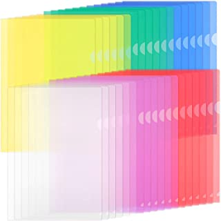 ZCZN 42 Pcs Chemises Plastique, Dossier Pochette A4 Pochette Document Personnalisable de 6 Couleurs Vives Transparent Plas...