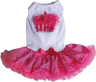 فستان PAWPATU Pawpatu أبيض ووردي مثير كشكشة كاب كيك لأعياد الميلاد للكلاب بوزن 1.8 كجم باللون الأبيض/الوردي الفاقع