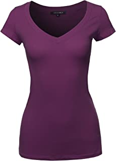 Women's Solid V-Neck Short Sleeves Everyday Top (S-3XL)