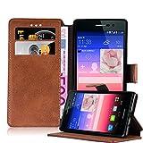 Cadorabo Coque pour Huawei P7, Orange Mat Design Retro Housse de Protection Portefeuille Etui Case...