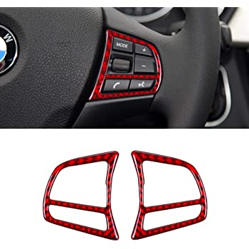 ramuel Compatible with Interior Carbon Fiber Steering Wheel Button Sticker Cover Trim Frame Decoration for BMW 3 4 Series GT F30 F32 F34 2013 2014 2015 2016 2017 (2Pcs Red)