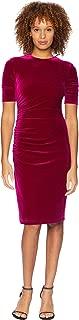 Womens Velvet Elbow Sleeve Dress w/Shirring