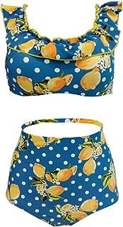 Lau's Traje de baño Mujer Dos Piezas - Bañadores Mujer con Volantes - Bikini 2 Piezas Cintura Alta Vintage